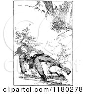 Clipart Of A Retro Vintage Black And White Boy Sleeping By A Creek Royalty Free Vector Illustration