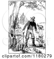 Clipart Of A Retro Vintage Black And White Grandfather And Son Ready To Collect Honey Royalty Free Vector Illustration