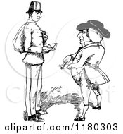 Retro Vintage Black And White Guy Talking To A Post Man Holding An Envelope