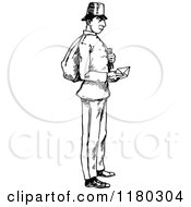Retro Vintage Black And White Post Man Holding An Envelope