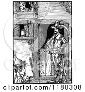 Clipart Of A Retro Vintage Black And White Woman And Men At A Barn Royalty Free Vector Illustration by Prawny Vintage