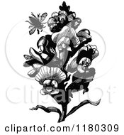 Retro Vintage Black And White Bee And Snap Dragon Plant