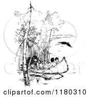 Clipart Of Retro Vintage Black And White Native Americans In A Canoe Royalty Free Vector Illustration by Prawny Vintage