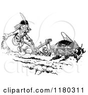 Clipart Of A Retro Vintage Black And White Dwarf And Fly Tilling A Garden Royalty Free Vector Illustration