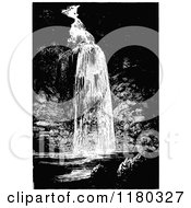 Clipart Of A Retro Vintage Black And White Waterfall Royalty Free Vector Illustration