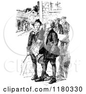 Clipart Of Retro Vintage Black And White People On A Street Royalty Free Vector Illustration