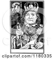 Clipart Of A Retro Vintage Black And White Half Sad Half Happy King Royalty Free Vector Illustration