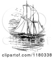 Clipart Of A Retro Vintage Black And White Sailing Ship Royalty Free Vector Illustration by Prawny Vintage