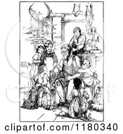 Clipart Of A Retro Vintage Black And White Grandpa And Children Royalty Free Vector Illustration