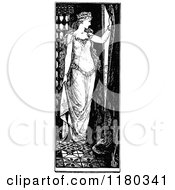 Clipart Of A Retro Vintage Black And White Princess Looking Out A Window Royalty Free Vector Illustration by Prawny Vintage