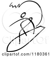Clipart Of A Black And White Stick Drawing Of A Surfer Royalty Free Vector Illustration