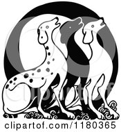 Clipart Of A Retro Vintage Black And White Letter O And Dogs Royalty Free Vector Illustration