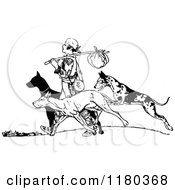Clipart Of A Retro Vintage Black And White Vagrant Man And Dogs Royalty Free Vector Illustration