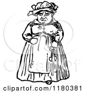 Clipart Of A Retro Vintage Black And White Old Woman With Keys Royalty Free Vector Illustration