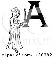 Clipart Of A Retro Vintage Black And White Letter A And Woman With A Candle Royalty Free Vector Illustration by Prawny Vintage