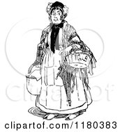 Clipart Of A Retro Vintage Black And White Old Woman With Baskets Royalty Free Vector Illustration