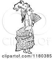 Clipart Of A Retro Vintage Black And White Lady With A Fan Royalty Free Vector Illustration by Prawny Vintage
