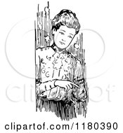 Clipart Of A Retro Vintage Black And White Woman Pointing Royalty Free Vector Illustration by Prawny Vintage