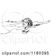Clipart Of A Retro Vintage Black And White Swimming Woman Royalty Free Vector Illustration