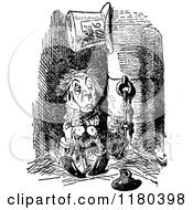 Clipart Of A Retro Vintage Black And White Locked Up Mad Hatter Royalty Free Vector Illustration