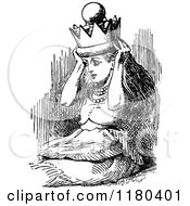 Clipart Of A Retro Vintage Black And White Queen Alice Royalty Free Vector Illustration