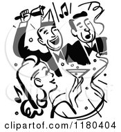 Clipart Of Retro Black And White Party People Royalty Free Vector Illustration