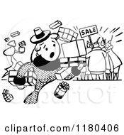 Clipart Of A Retro Vintage Black And White Clumsy Shopper At A Sale Royalty Free Vector Illustration by Prawny Vintage