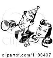 Clipart Of A Retro Black And White Party Couple Royalty Free Vector Illustration