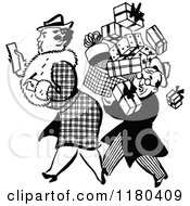 Clipart Of A Retro Black And White Man Carrying A Shopping Womans Boxes Royalty Free Vector Illustration by Prawny Vintage