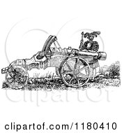 Clipart Of A Retro Vintage Black And White Great Cannon And Soldier Royalty Free Vector Illustration