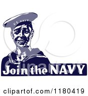 Clipart Of A Retro Vintage Blue And White Join The Navy Sailor Royalty Free Vector Illustration by Prawny Vintage