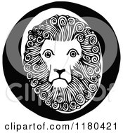 Clipart Of A Retro Vintage Black And White Letter O And Lion Royalty Free Vector Illustration