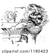 Clipart Of A Retro Vintage Black And White Lion Pianist Royalty Free Vector Illustration
