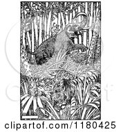 Clipart Of A Retro Vintage Black And White Elephant Monkey And Tiger In The Jungle Royalty Free Vector Illustration