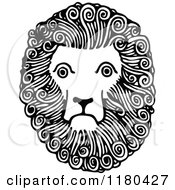 Clipart Of A Retro Vintage Black And White Lion Face Royalty Free Vector Illustration