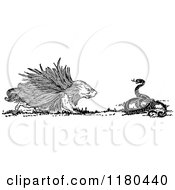 Clipart Of A Retro Vintage Black And White Porcupine And Snake Royalty Free Vector Illustration by Prawny Vintage