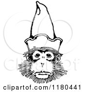 Clipart Of A Retro Vintage Black And White Monkey Wearing A Hat Royalty Free Vector Illustration by Prawny Vintage