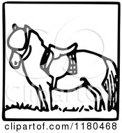Clipart Of A Black And White Pony Icon Royalty Free Vector Illustration by Prawny Vintage
