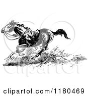 Clipart Of A Retro Vintage Black And White Riderless Horse Running Royalty Free Vector Illustration