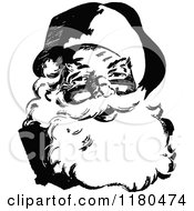 Clipart Of A Retro Vintage Black And White Santa Royalty Free Vector Illustration