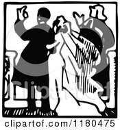 Clipart Of A Retro Vintage Black And White Wedding Couple Royalty Free Vector Illustration