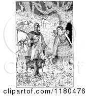 Clipart Of A Retro Vintage Black And White Knight And Maiden In The Woods Royalty Free Vector Illustration