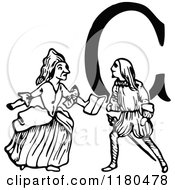 Clipart Of A Retro Vintage Black And White Letter C And Couple Royalty Free Vector Illustration