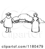 Retro Vintage Black And White Farmer Couple And House