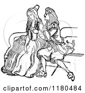 Clipart Of A Retro Vintage Black And White Couple Sitting Royalty Free Vector Illustration