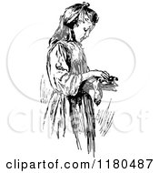 Clipart Of A Retro Vintage Black And White Girl Dusting Off A Book Royalty Free Vector Illustration