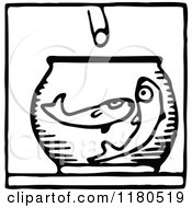 Clipart Of A Black And White Feeding Fish Icon Royalty Free Vector Illustration