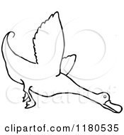 Clipart Of A Black And White Flying Duck Royalty Free Vector Illustration
