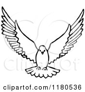 Clipart Of A Black And White Dove Flying Royalty Free Vector Illustration