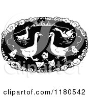 Clipart Of A Retro Vintage Black And White Duck Pond Royalty Free Vector Illustration